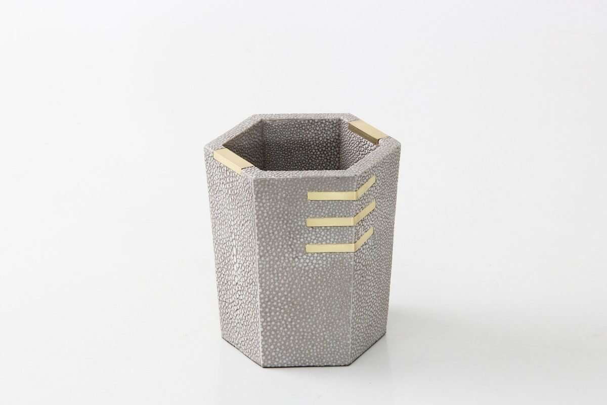 Christie Pen Pot in Barley Shagreen by Forwood Design 4