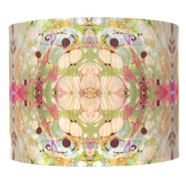 Beige/Pink Ripple Kaleidoscope Linen Lampshade by Susi Bellamy 2