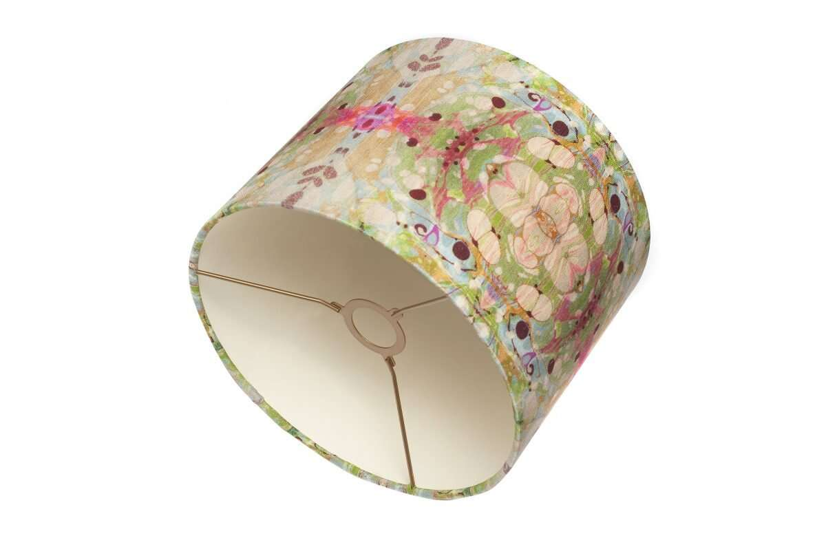 Beige/Pink Ripple Kaleidoscope Linen Lampshade by Susi Bellamy 1