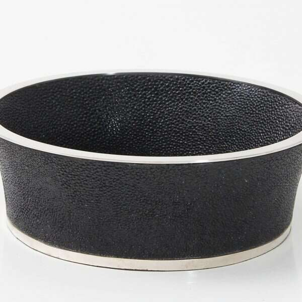 Wine Bottle Coaster in Caviar Black Shagreen by Forwood Design 5