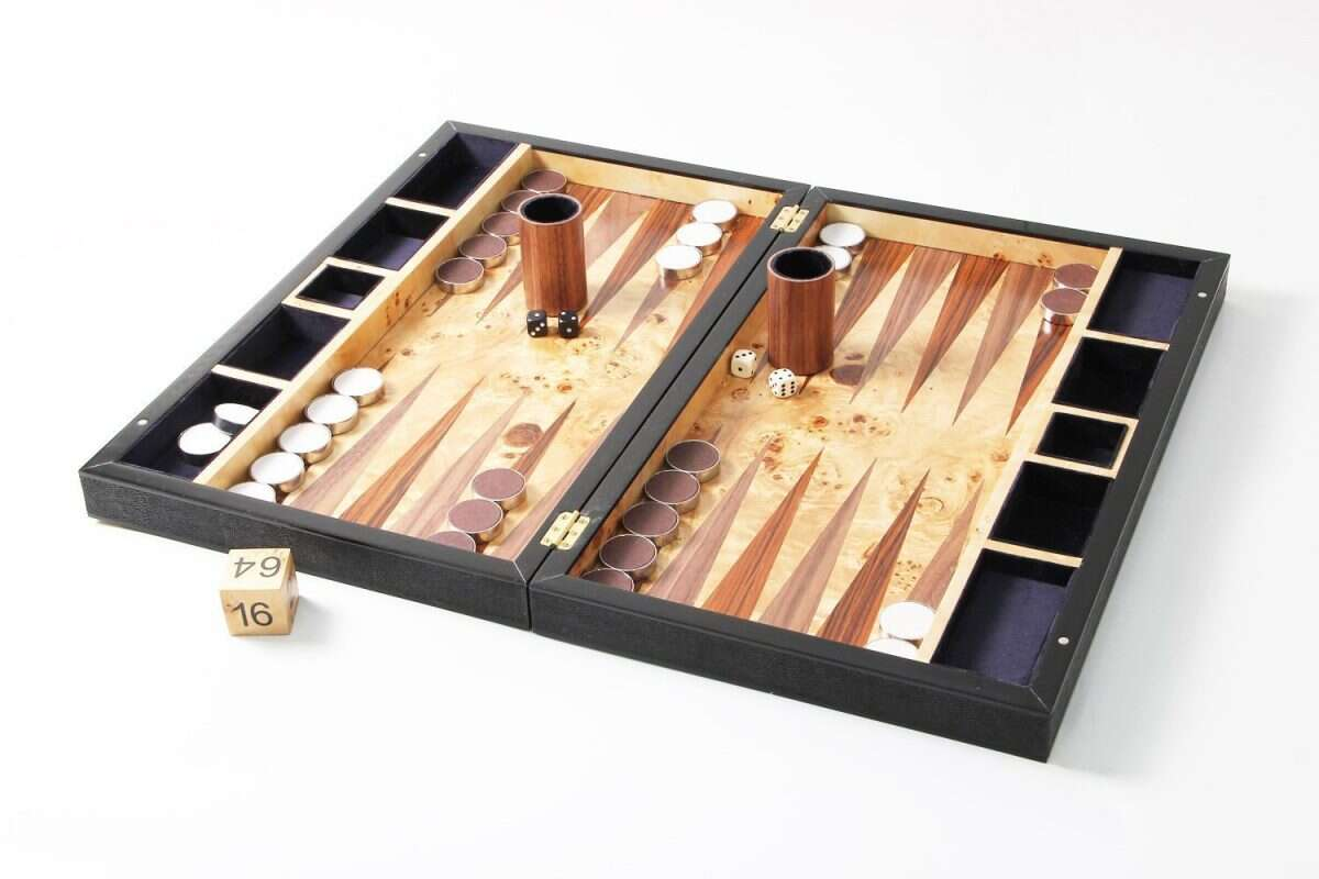 Backgammon Board in Caviar Black Shagreen 3