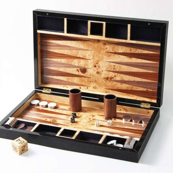 Backgammon Board in Caviar Black Shagreen 2