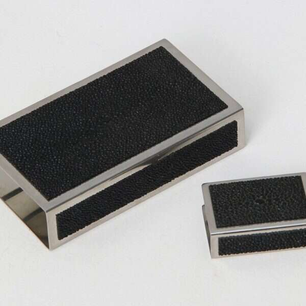 Matchbox Holders in Caviar Black Shagreen by Forwood Design 6