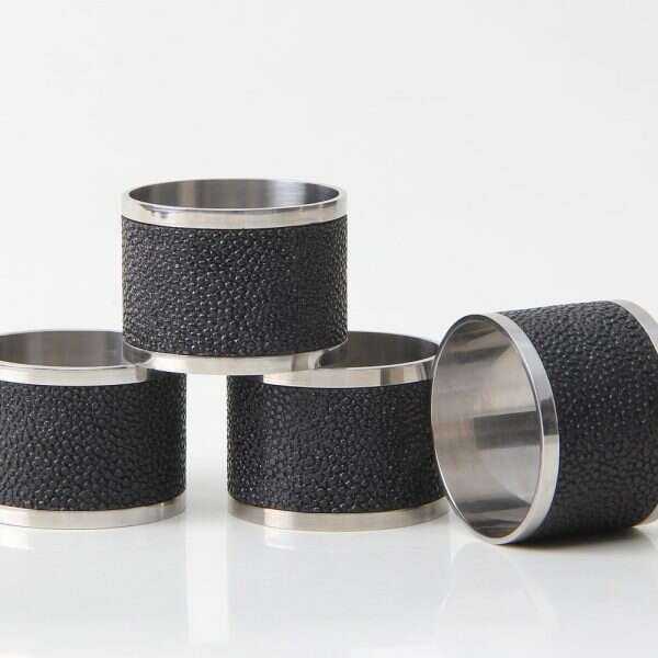 Napkin Rings in Caviar Black Shagreen by Forwood Design 3