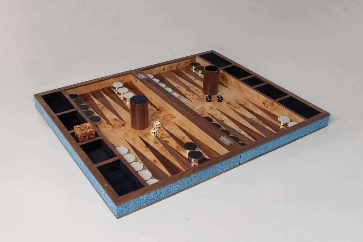 Deluxe backgammon set in Duke Blue