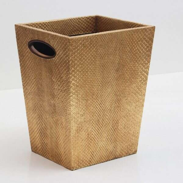 Boa Waste Bin in Antique Gold by Forwood Design 5