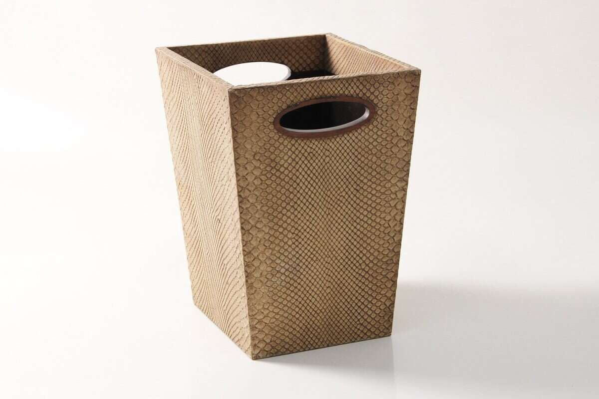 Waste Bin in Boa Antique Ivory by Forwood Design 4