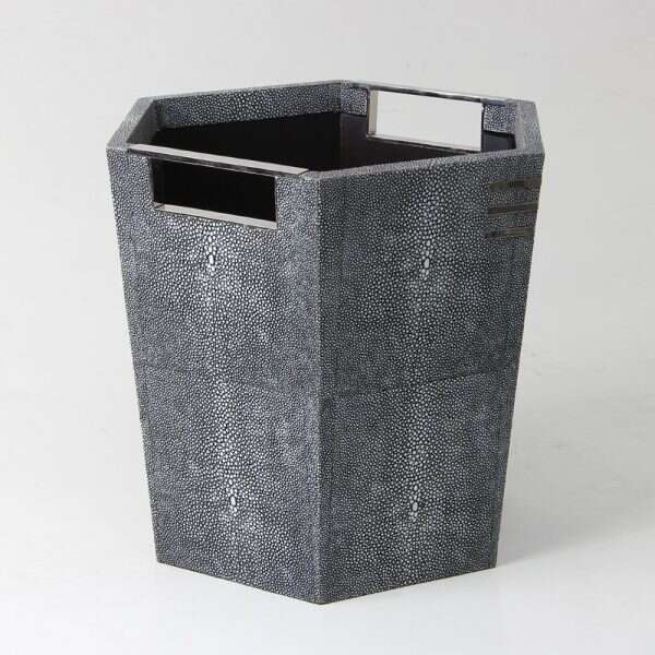 Waste Paper Bin in Charcoal Shagreen by Forwood Design 6