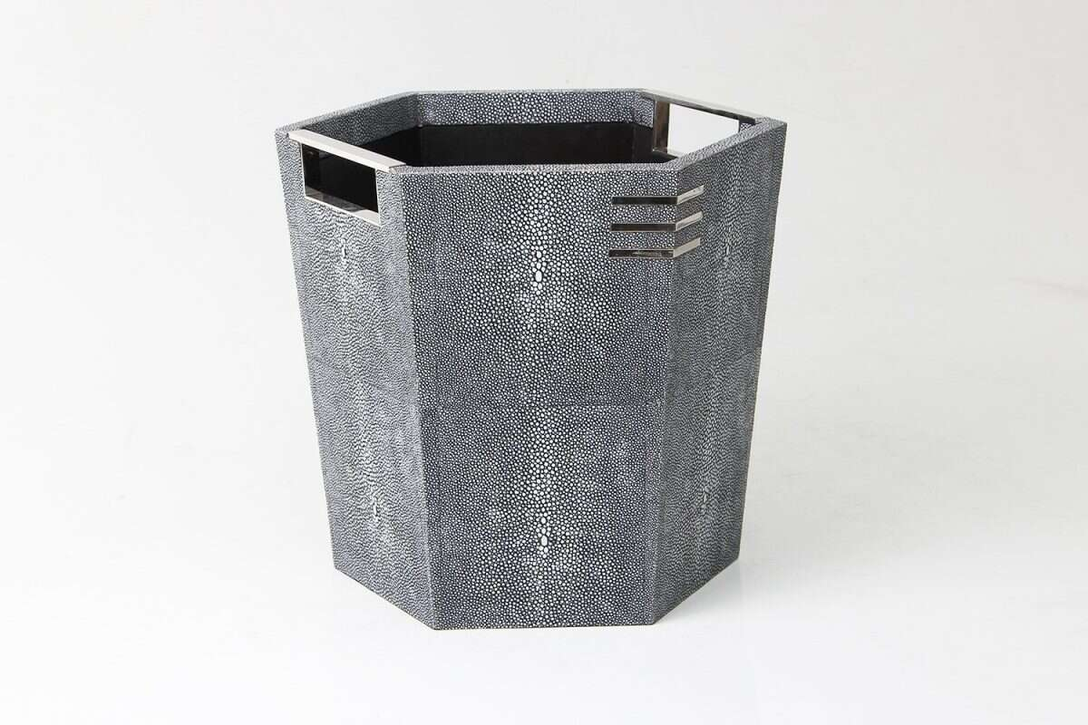 Waste Paper Bin in Charcoal Shagreen by Forwood Design 5