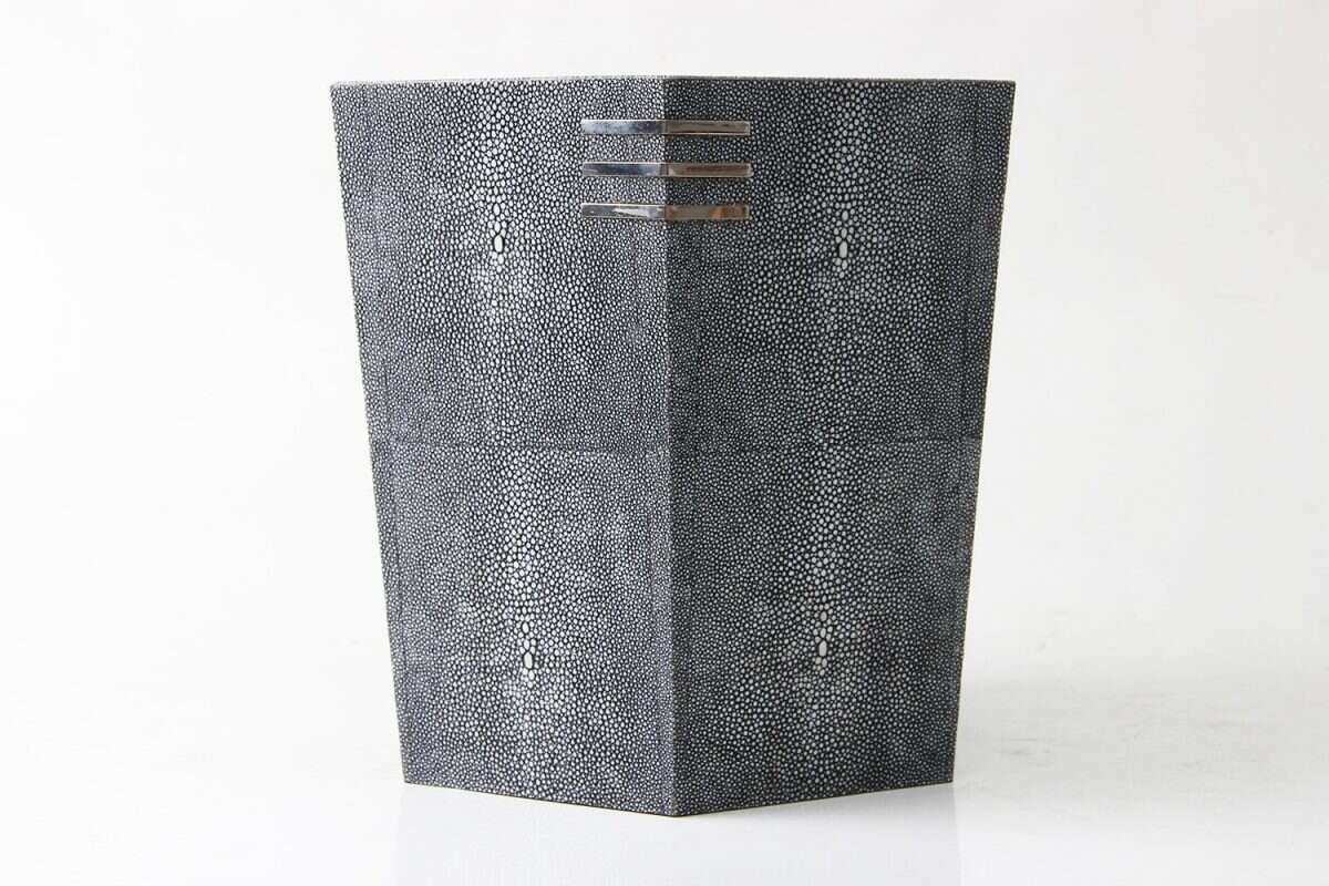 Waste Paper Bin in Charcoal Shagreen by Forwood Design 2