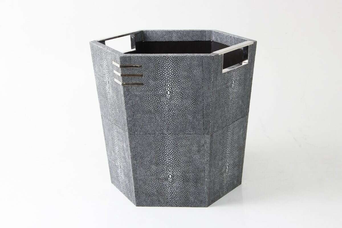 Waste Paper Bin in Charcoal Shagreen by Forwood Design 1
