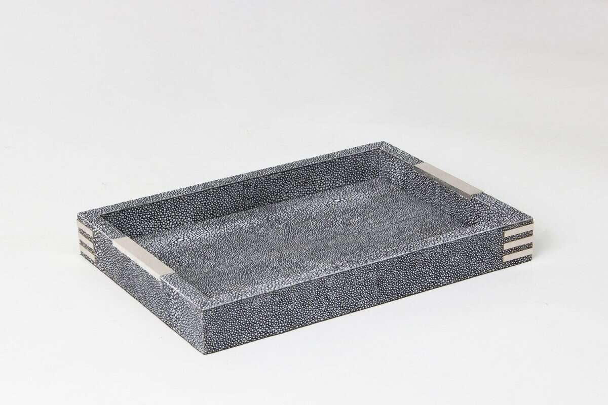 Chandler Desk Tray in Charcoal Shagreen by Forwood Design 4