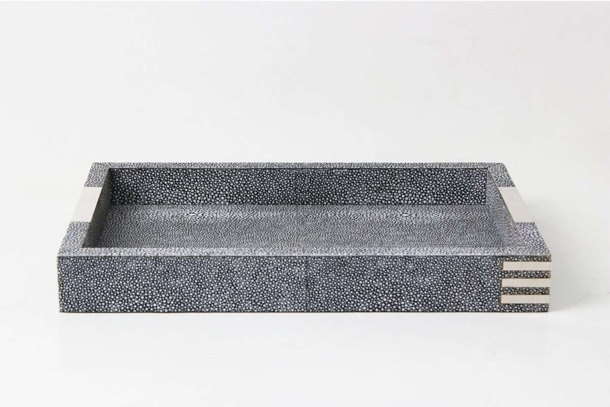 Chandler Desk Tray in Charcoal Shagreen by Forwood Design 3