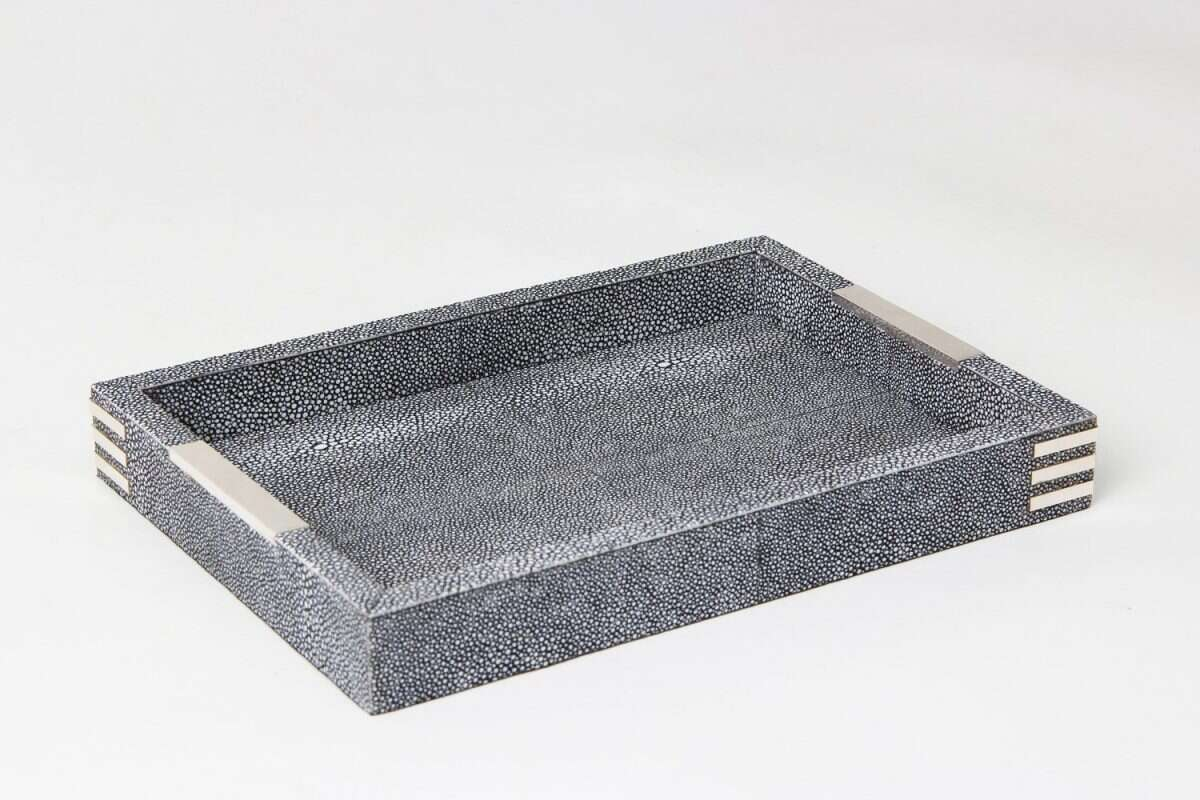 Chandler Desk Tray in Charcoal Shagreen by Forwood Design 5