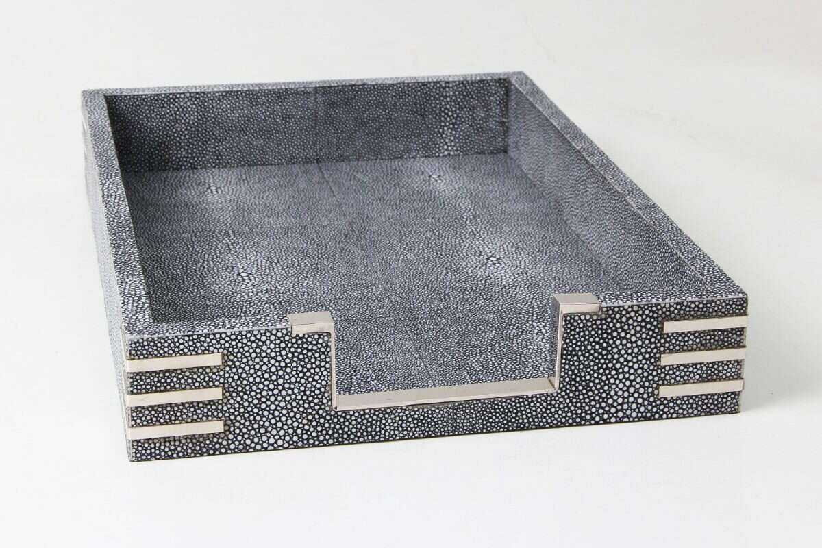Chandler In-Tray in Charcoal Shagreen by Forwood Design 5