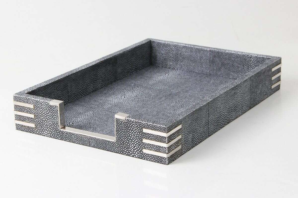 In Tray In Shagreen Charcoal