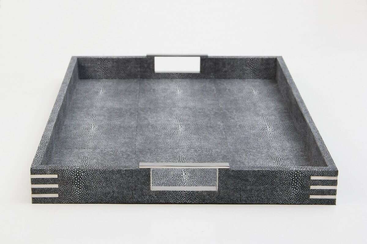 Chandler Drinks & Serving Tray in Charcoal Shagreen by Forwood Design 4