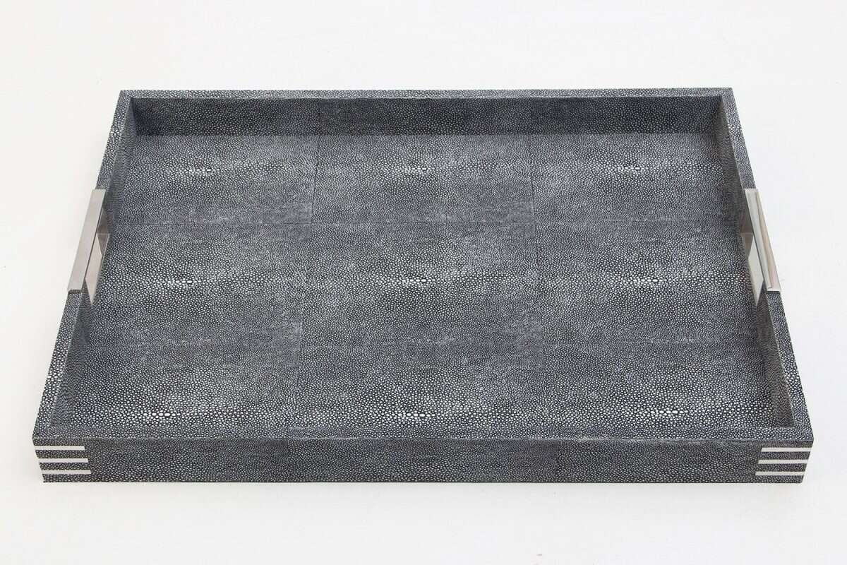Chandler Drinks & Serving Tray in Charcoal Shagreen by Forwood Design 2