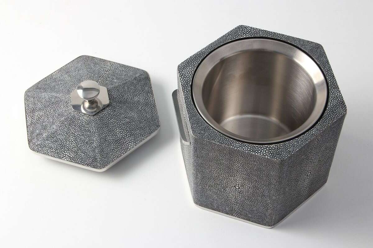 Ice Bucket in Charcoal Shagreen by Forwood Design 6