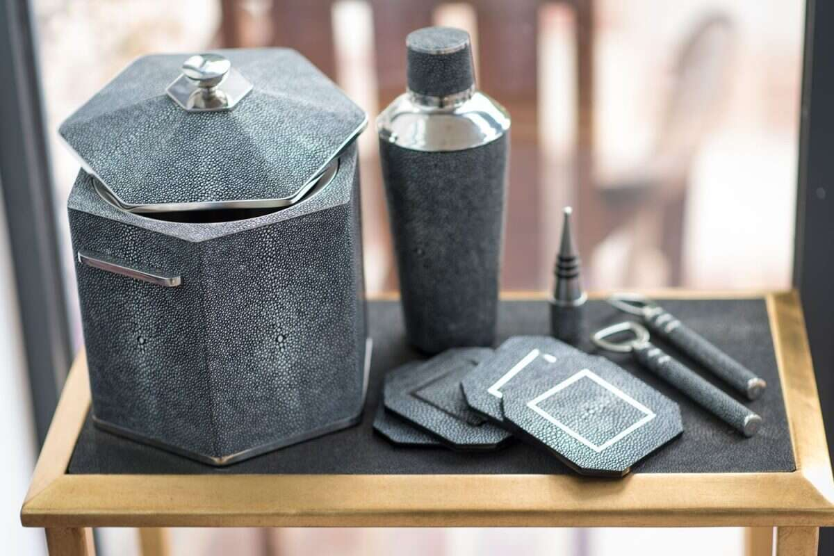 Ice Bucket in Charcoal Shagreen by Forwood Design 4