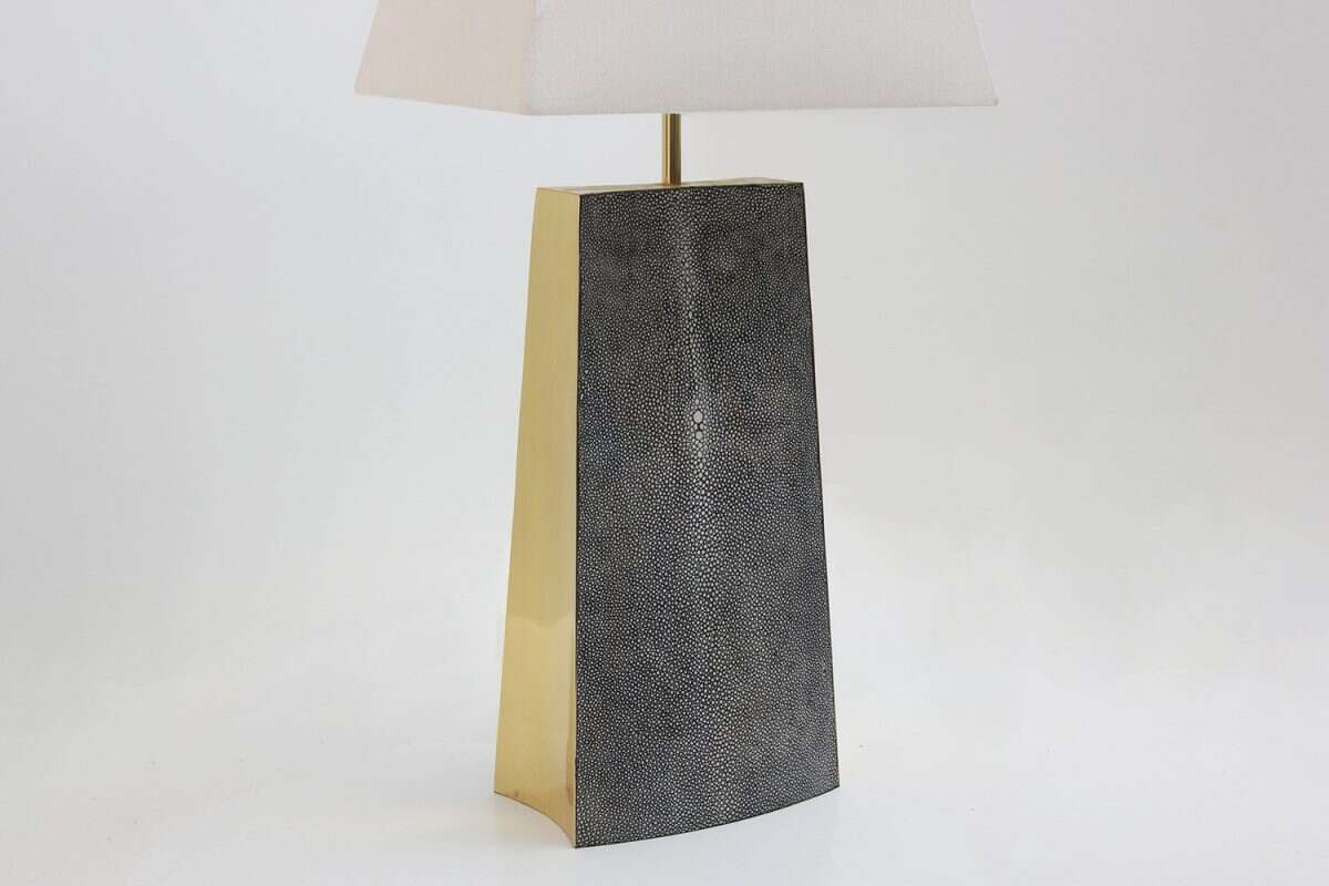 Madison Table Lamp in Charcoal Shagreen by Forwood Design 5