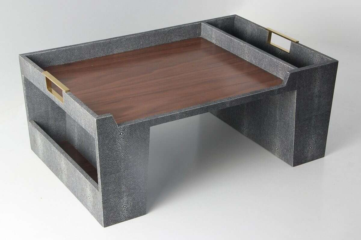 Bed Tray in Charcoal Shagreen by Forwood Design 6