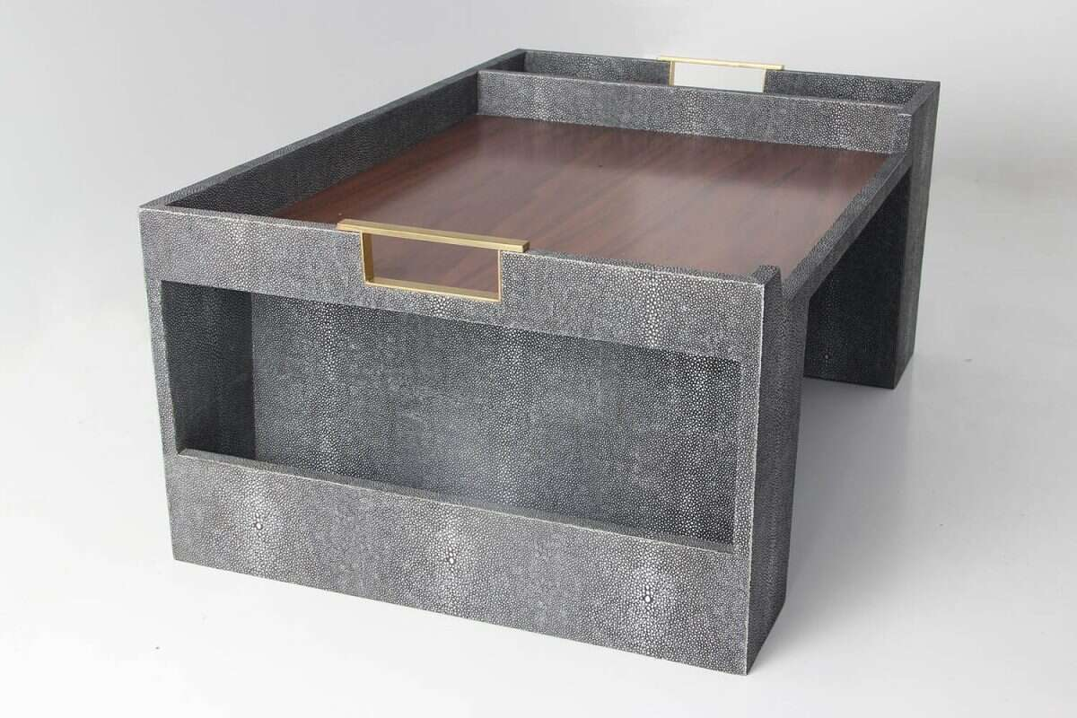 Bed Tray in Charcoal Shagreen by Forwood Design 5