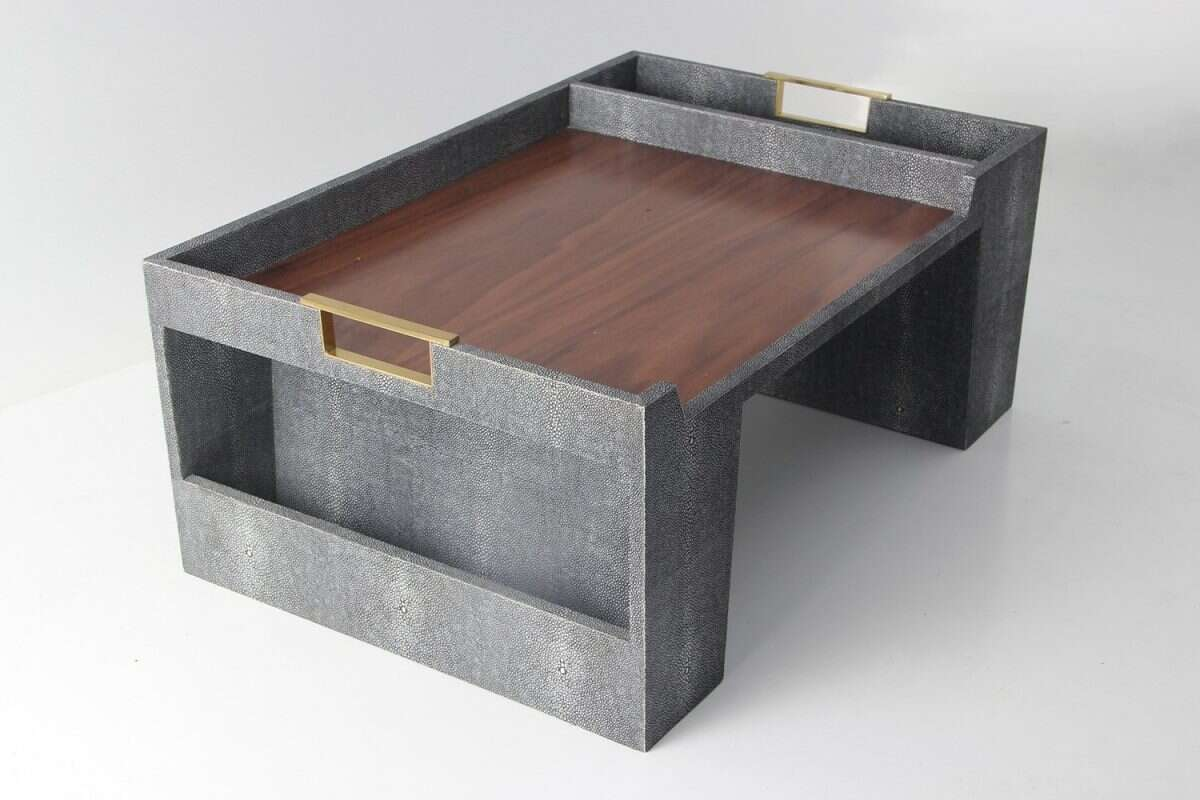 Bed Tray in Charcoal Shagreen by Forwood Design 4