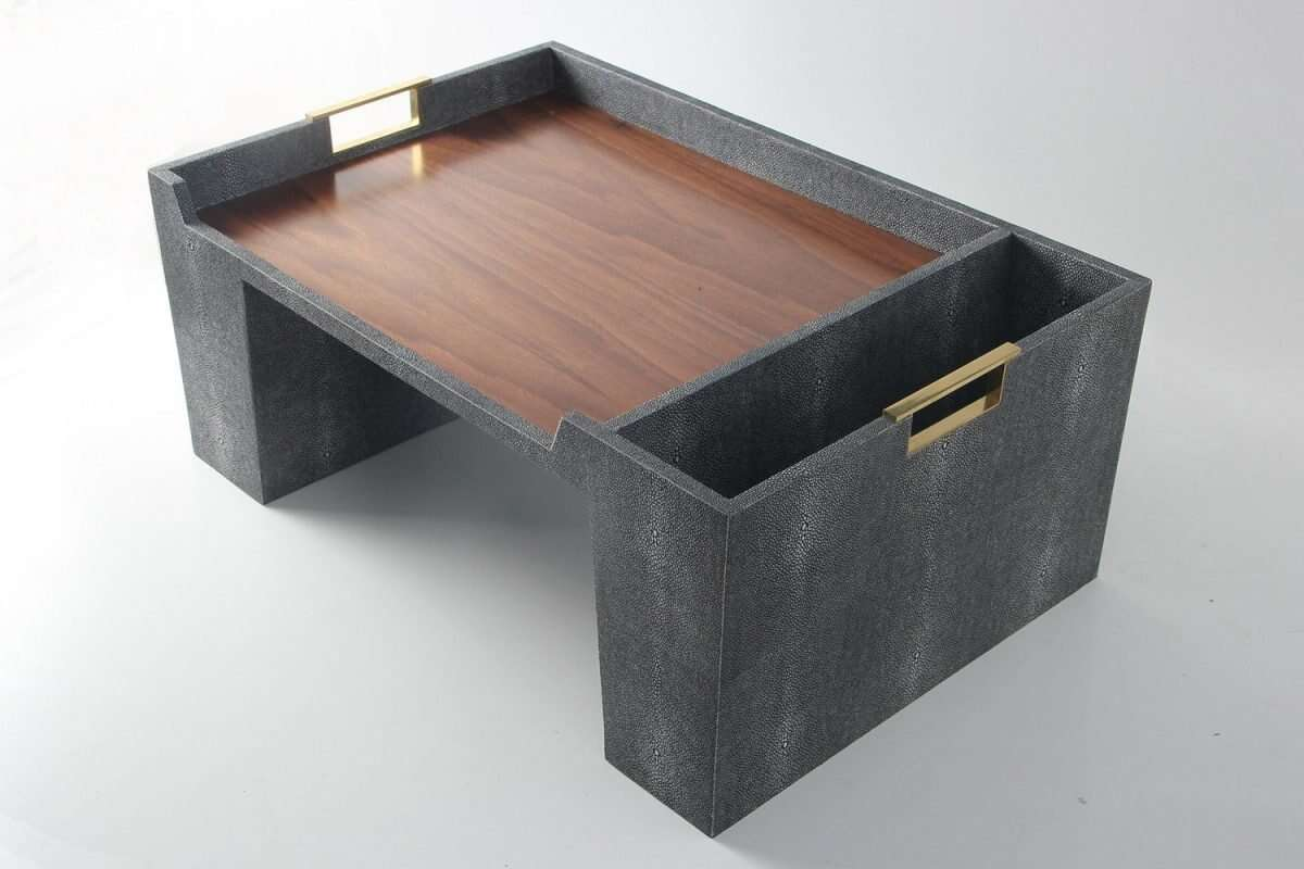 Bed Tray in Charcoal Shagreen by Forwood Design 2