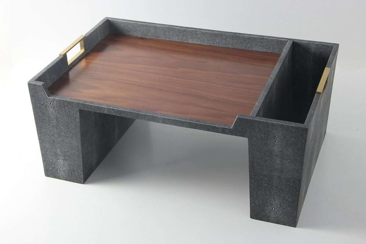 Bed Tray in Charcoal Shagreen by Forwood Design 1