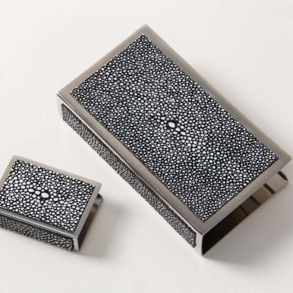 Matchbox Holders in Charcoal Grey Shagreen by Forwood Design 3