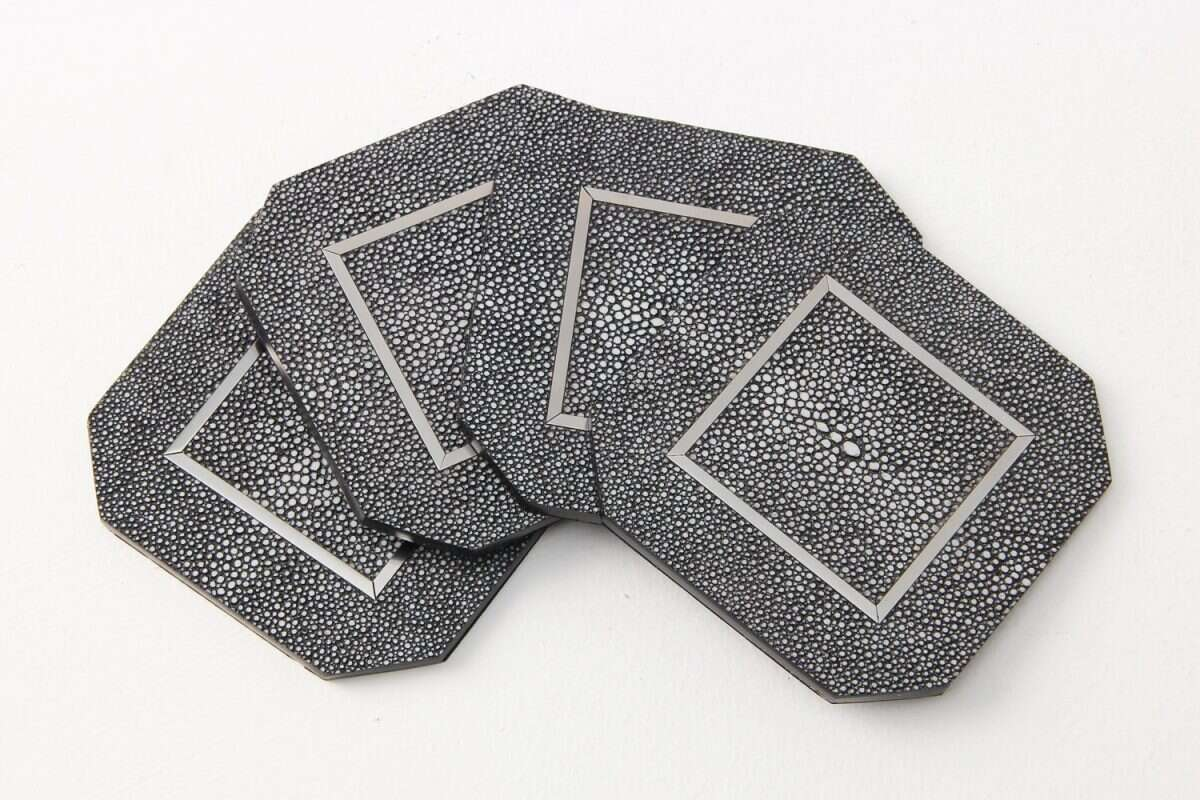 Chandler Drinks Coasters in Charcoal Shagreen by Forwood Design 5