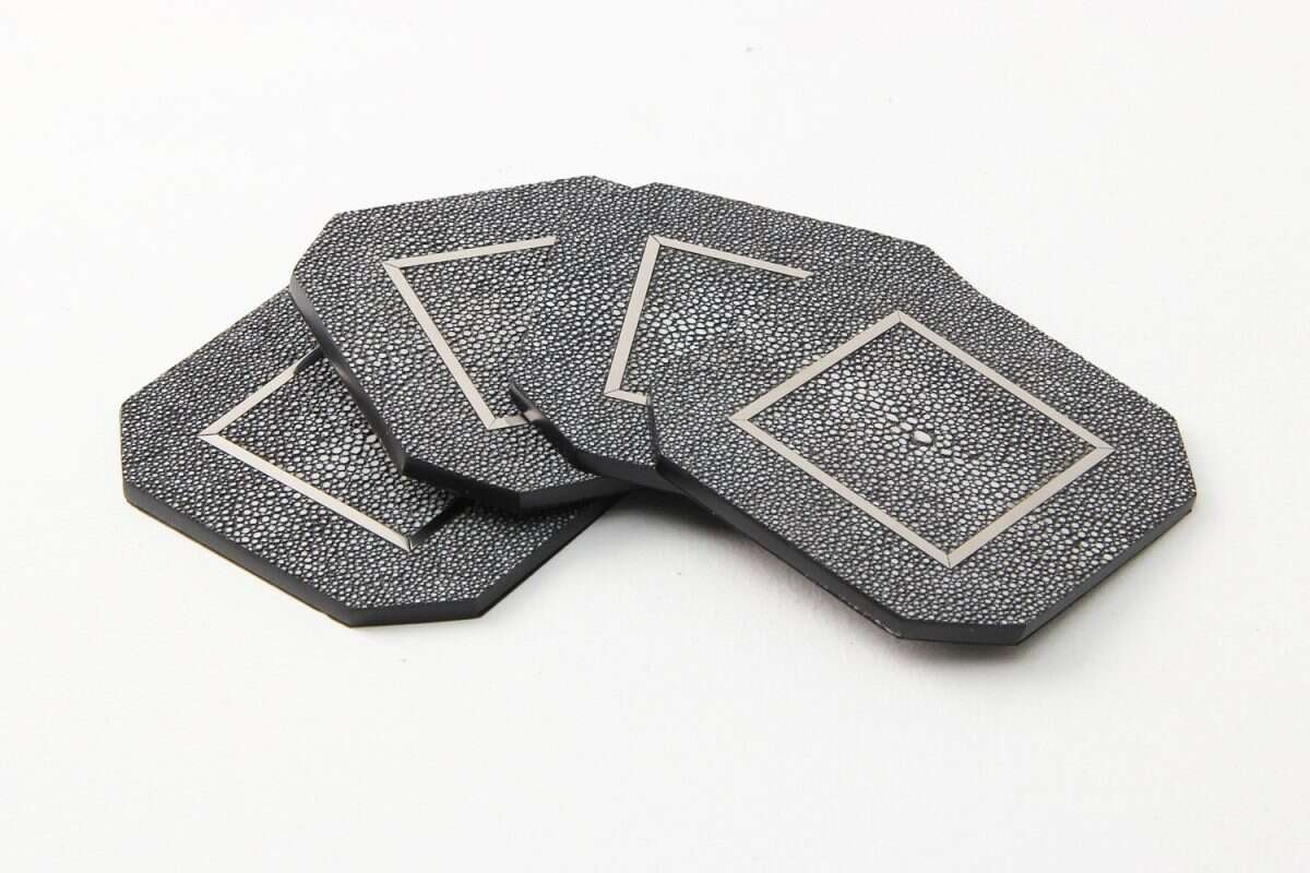 Chandler Drinks Coasters in Charcoal Shagreen by Forwood Design 4