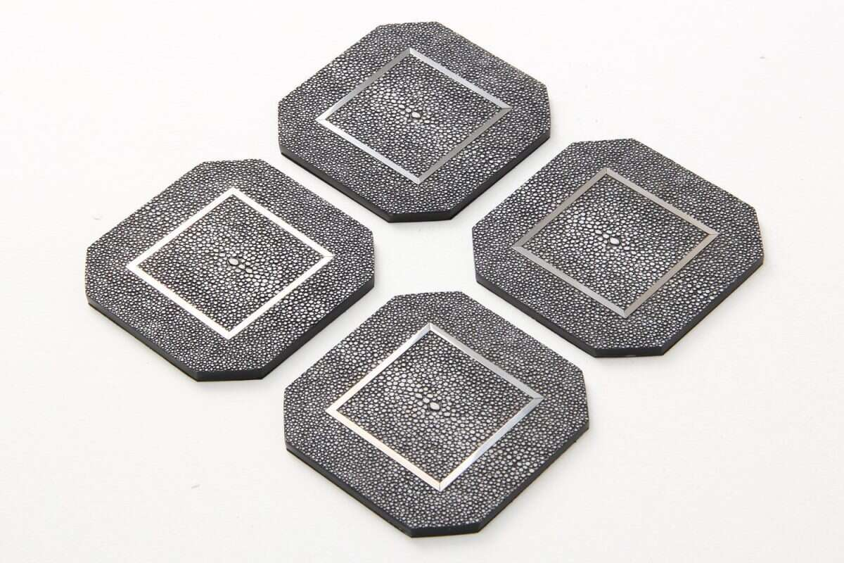 Chandler Drinks Coasters in Charcoal Shagreen by Forwood Design 3