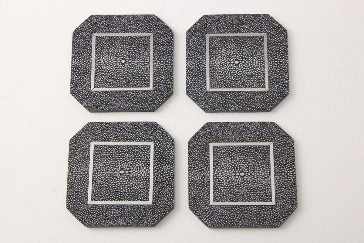 Chandler Drinks Coasters in Charcoal Shagreen by Forwood Design 1