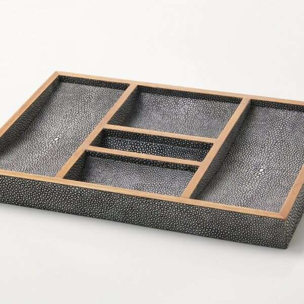 Bevin Valet Tray in Charcoal Grey shagreen by Forwood Design 1