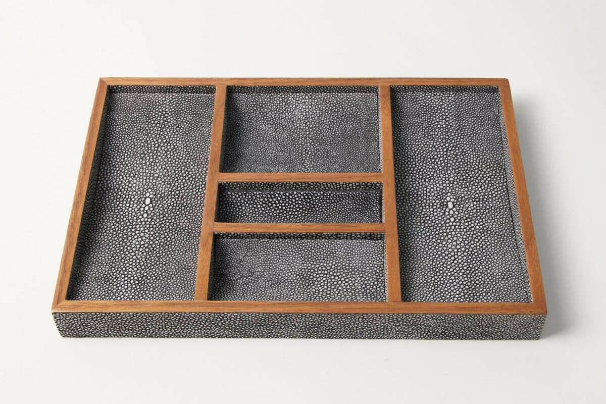 Bevin Valet Tray in Charcoal Grey shagreen by Forwood Design 4