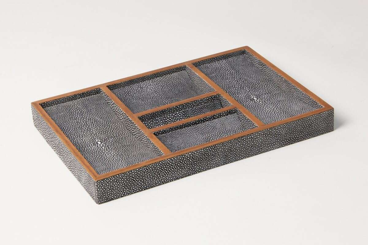 Bevin Valet Tray in Charcoal Grey shagreen by Forwood Design 3