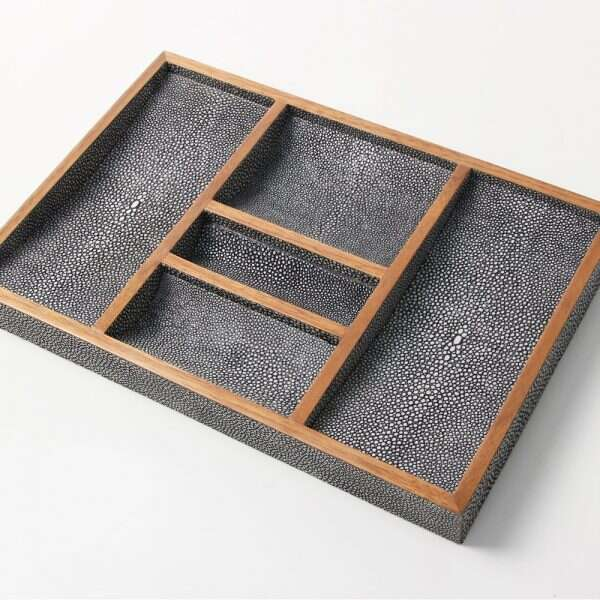 Bevin Valet Tray in Charcoal Grey shagreen by Forwood Design 2