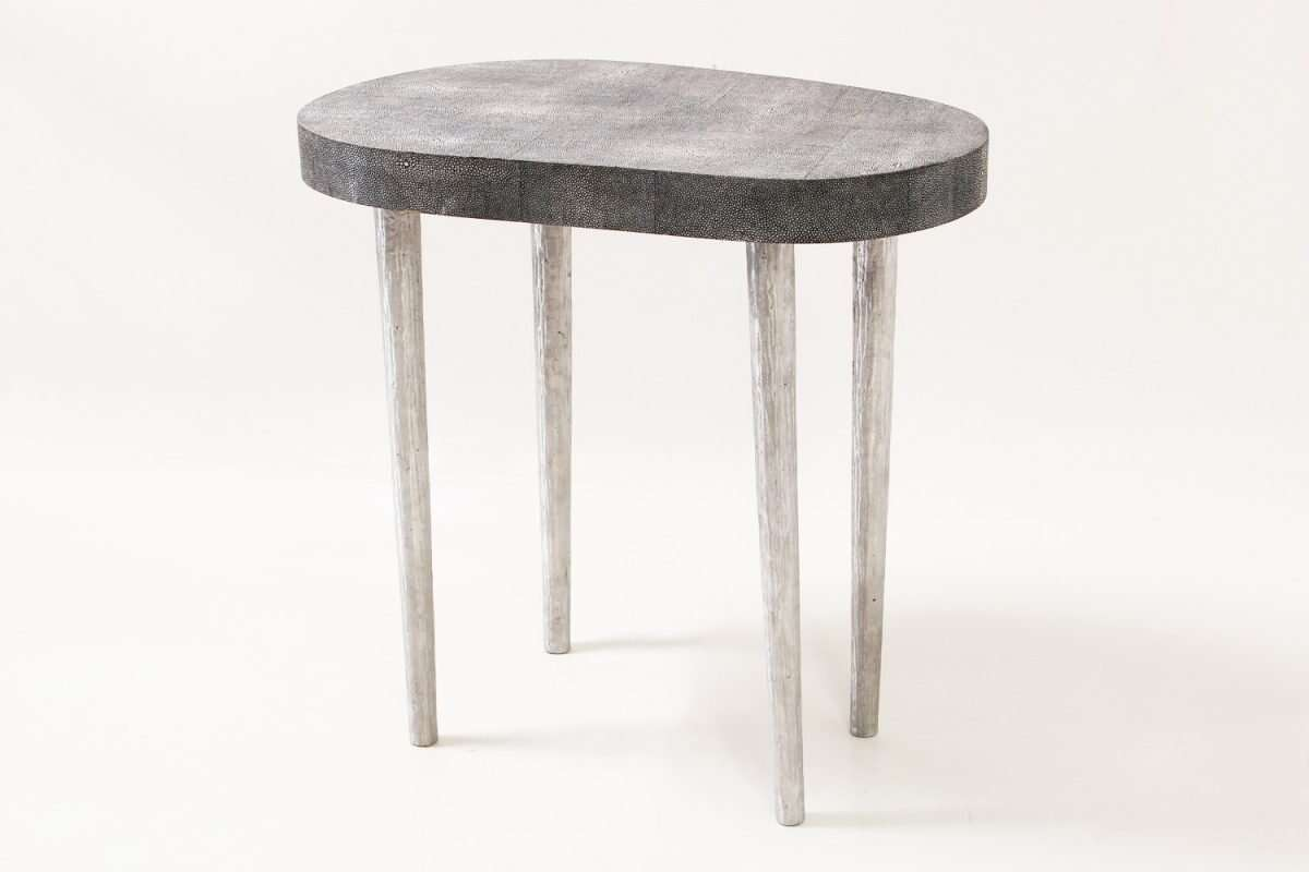 Mango Side Table in Charcoal Shagreen by Forwood Design 6