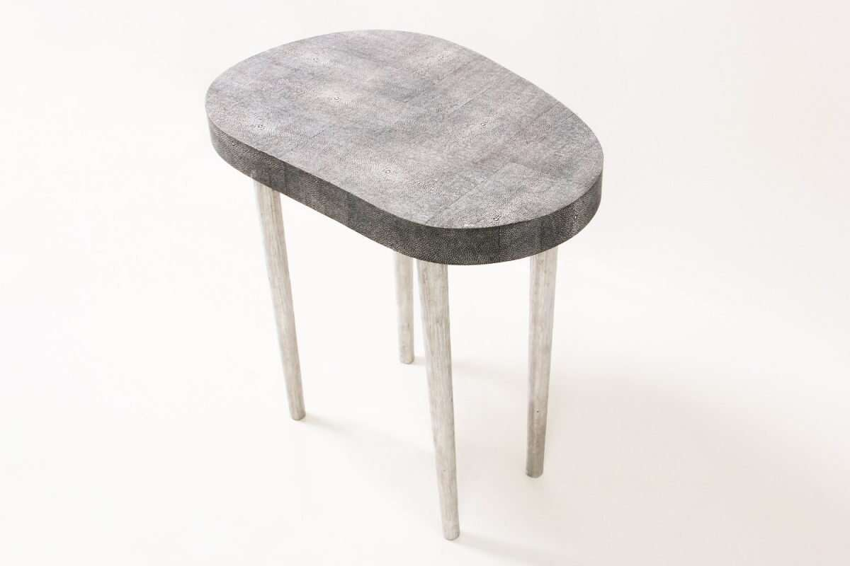 Mango Side Table in Charcoal Shagreen by Forwood Design 3