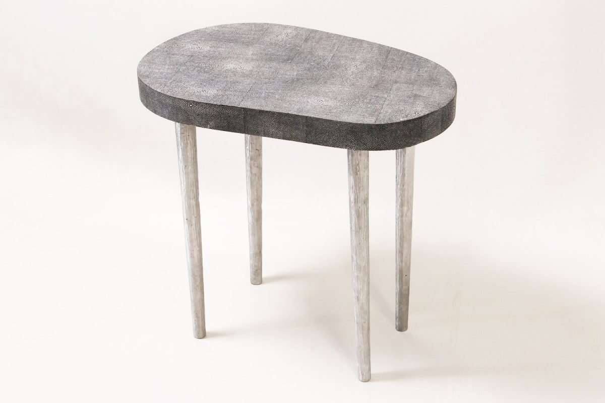 Mango Side Table in Charcoal Shagreen by Forwood Design 1