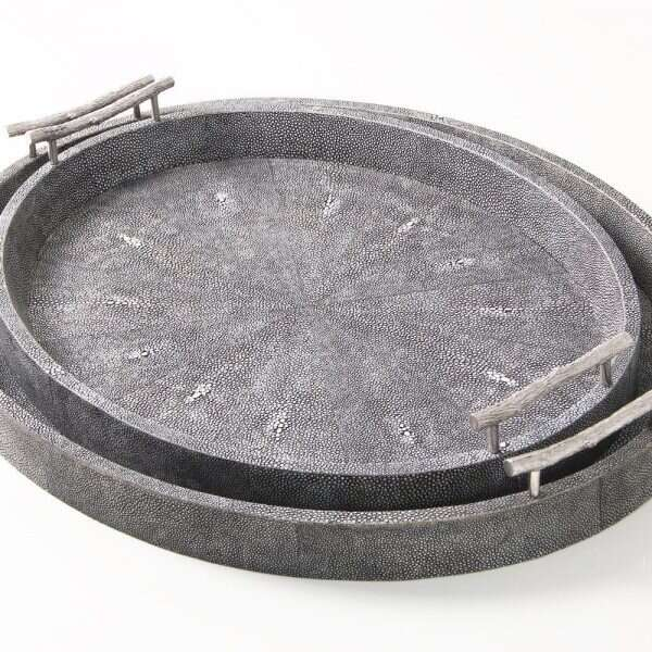 Oval Serving Tray in Charcoal Shagreen by Forwood Design 5