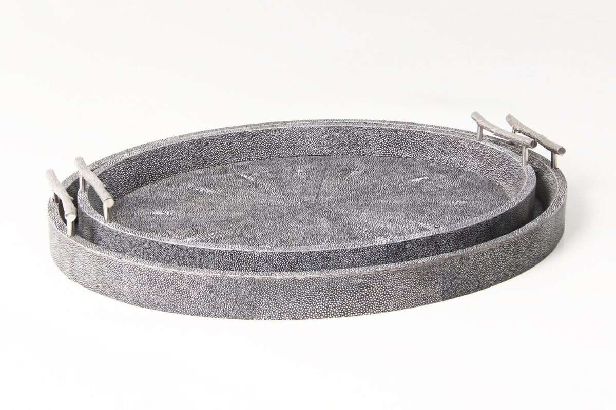 Oval Serving Tray in Charcoal Shagreen by Forwood Design 4