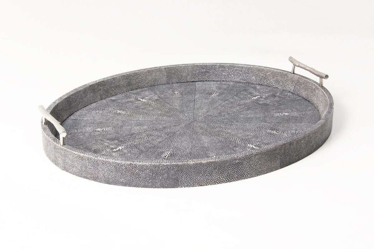Oval Serving Tray in Charcoal Shagreen by Forwood Design 1