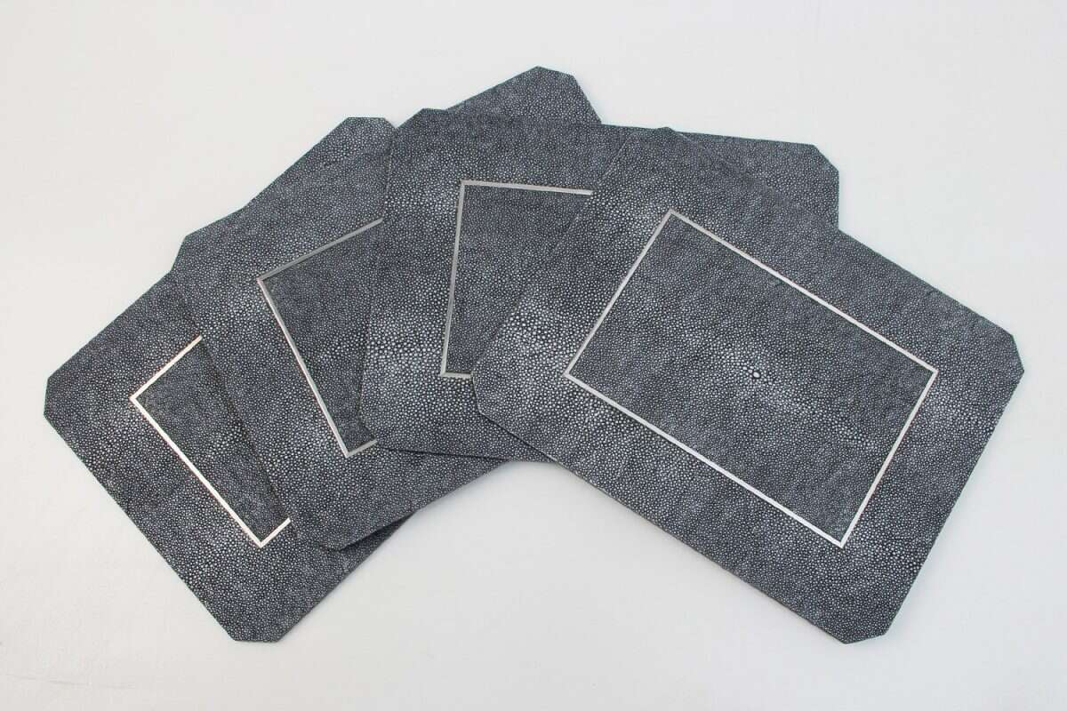Chandler Place mats in Charcoal Shagreen by Forwood Design 5