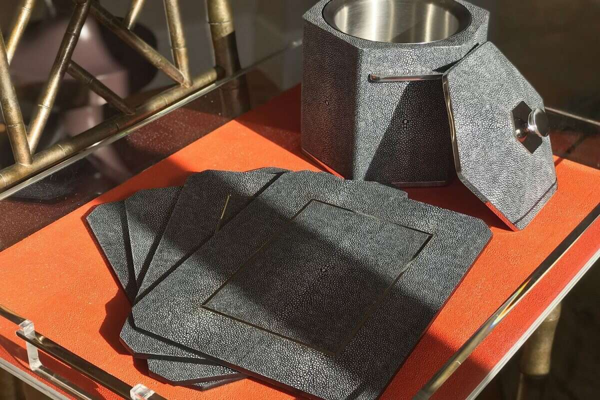 Chandler Place mats in Charcoal Shagreen by Forwood Design 2