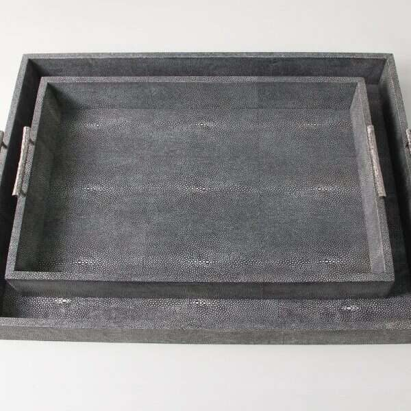 Rectangle Serving Tray in Charcoal Shagreen by Forwood Design 5