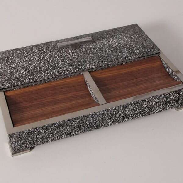 Darcy Valet Tray in Charcoal Shagreen 5