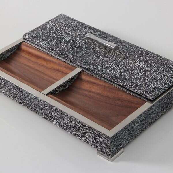 Darcy Valet Tray in Charcoal Shagreen 4